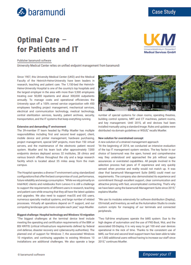 Optimal Care for Patients and IT