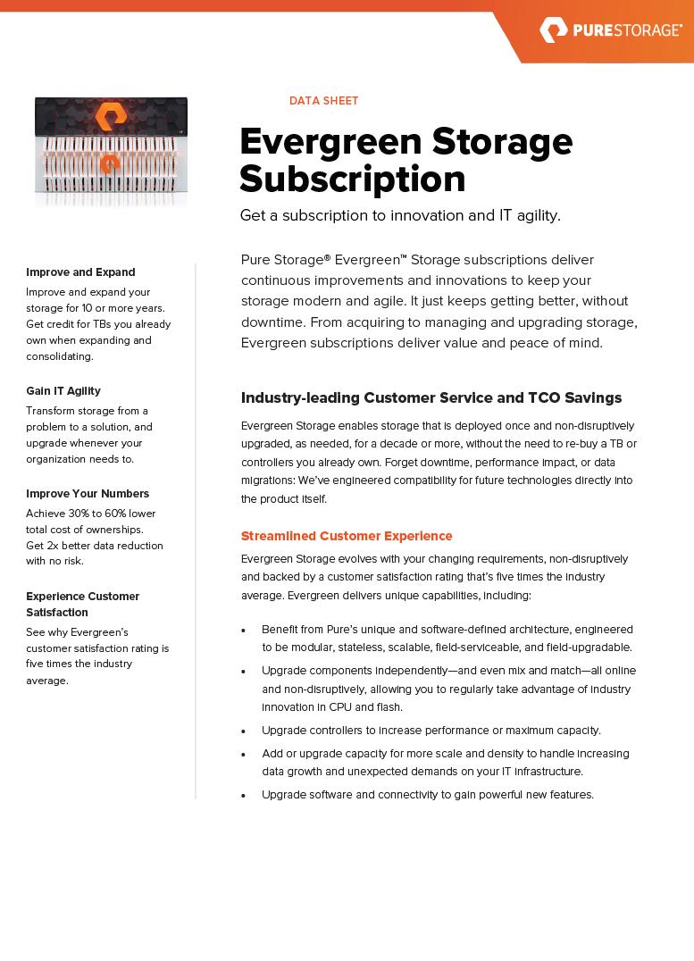 Data Sheet: Evergreen Storage Subscription