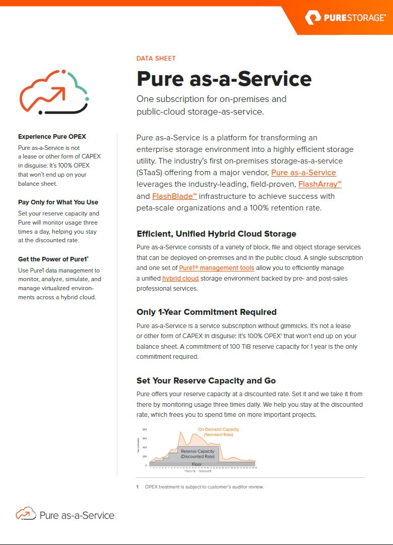 Data Sheet: Pure as a Service