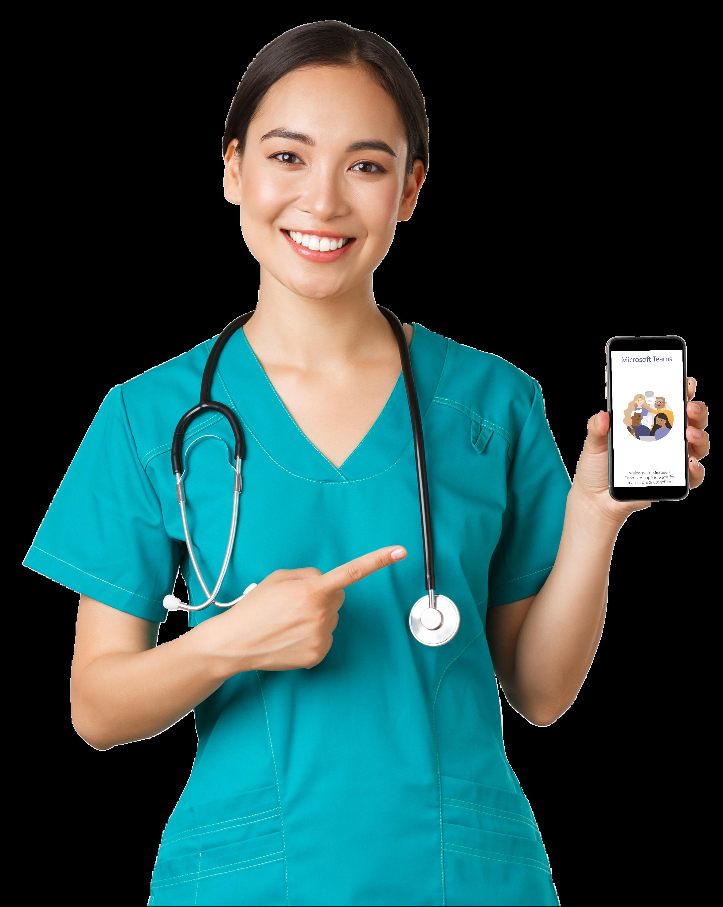 woman doctor phone mobile MS teams